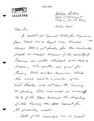 Primary view of object titled 'Letter from Nelson Potter to the Commission in support of Cannon AFB.'.