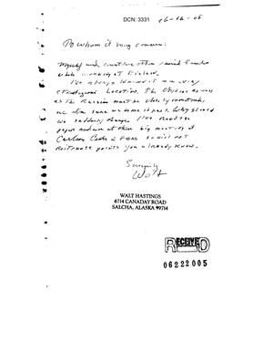 Primary view of object titled 'Letter from Walt Hastings to the Commission in support of Eielson'.