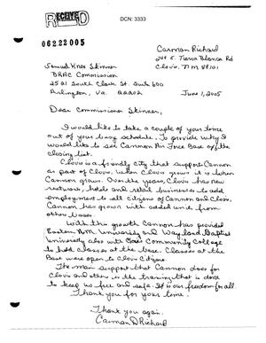 Primary view of object titled 'Letters from Carmen Richard to the Commission in support of Cannon AFB.'.