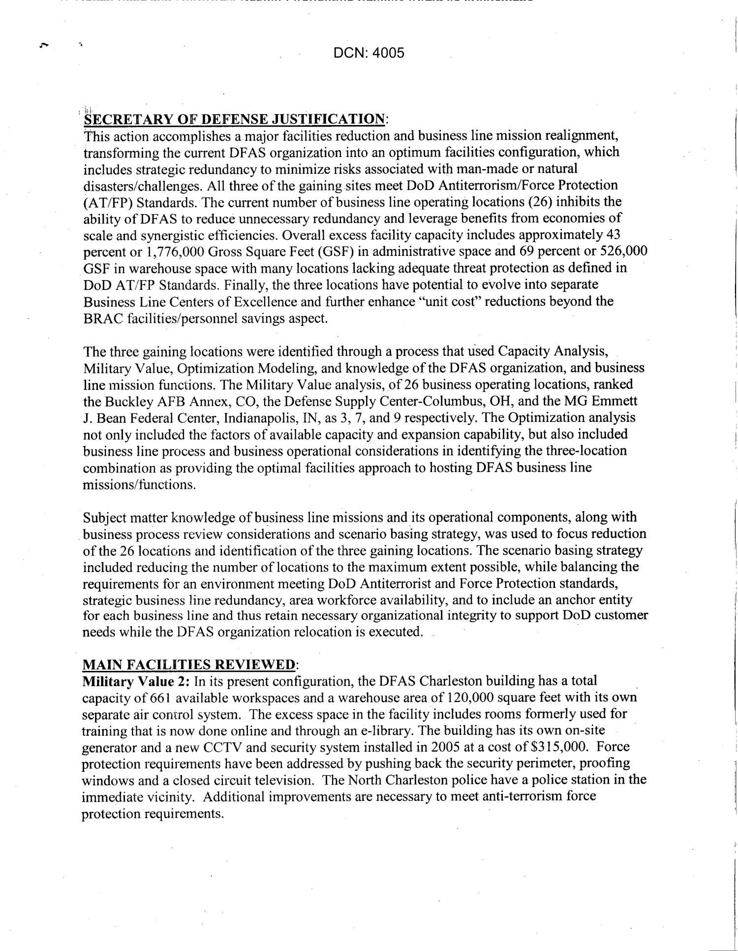 Base Visit Report from BRAC Commission Visit to DFAS Charleston, SC dtd 7 June 2005                                                                                                      [Sequence #]: 2 of 3