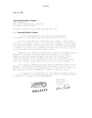 Primary view of object titled 'Letter from Katie Padilla to Commission Regarding Cannon AFB'.