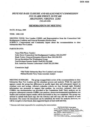 Primary view of object titled '[Memorandum of Meeting: Submarine Base New London, Connecticut, June 28, 2005]'.