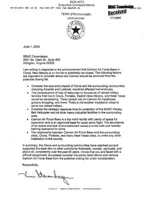 Primary view of object titled 'Executive Correspondence – Letter dated 6/1/2005 to the BRAC Commission from Terri Stavenhagen Commissioner of the City of Amarillo TX'.