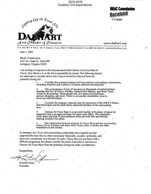Primary view of object titled 'Coalition Correspondence – Letter dated 6/1/2005 to the BRAC Commission from Kristine Olsen president of the Dalhart Area Chamber of Commerce'.