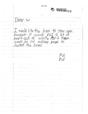Primary view of object titled 'Letter from Pvt. Bell (Child) to the Commission'.