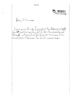Primary view of object titled 'Letter from Child to the Commission'.