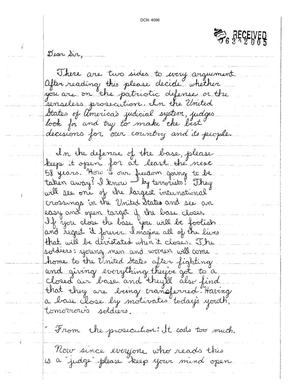 Primary view of object titled 'Letter from Kassandra Anderson to the Commission'.
