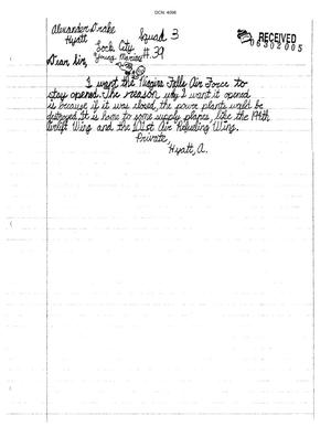 Primary view of object titled 'Letter from Alexander Drake Hyatt to the Commission'.