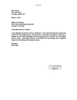 Primary view of object titled 'Letters from Rick Taylor to the Commission dtd 20 May 2005'.