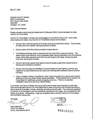 Primary view of object titled 'Letters from Kevin Maynard to the Commission dtd 27 May 2005'.