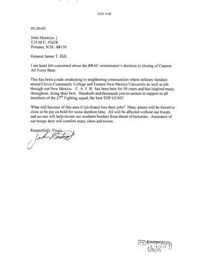 Primary view of object titled 'Letters from John Montoya to the Commission dtd 20 May 2005'.
