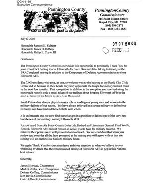 Primary view of object titled 'Executive Correspondence – Letter dated 7/6/2005 to Commissioners Skinner, Bilbray, and Coyle from Pennington County (SD) Commissioners'.