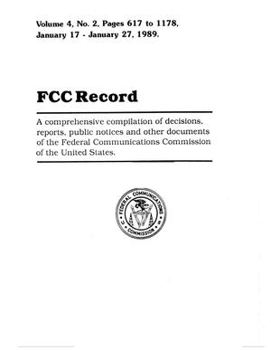 Primary view of object titled 'FCC Record, Volume 4, No. 2, Pages 617 to 1178, January 17 - January 27, 1989'.