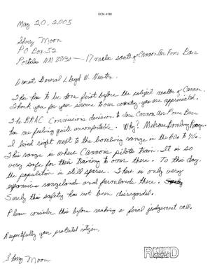 Primary view of object titled 'Letters from Sherry Moon to the Commission dtd 20 May 2005'.