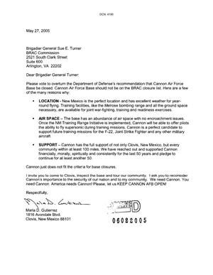 Primary view of object titled 'Letters from Marla D. Gutierrez to the Commission dtd 27 May 2005'.