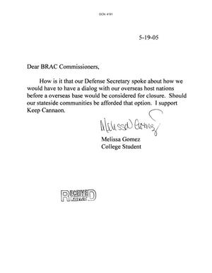 Primary view of object titled 'Letter from Melissa Gomez to the BRAC Commission dtd 19 May 2005'.
