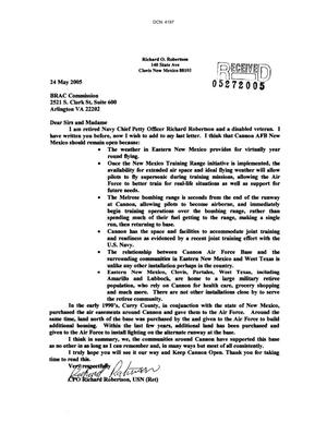 Primary view of object titled 'Letter from Richard Robertson to members of the BRAC Commission dtd 24 May 2005'.
