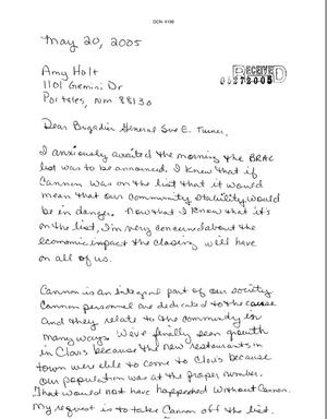 Primary view of object titled 'Letter from Amy Holt to the Commission dtd 20 May 2005'.