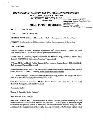 Primary view of object titled '[Memorandum of Meeting: Malcolm Grow Medical Center, Andrews Air Force Base, Maryland, June 23, 2005]'.