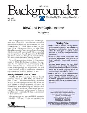 Primary view of object titled 'BRAC and Per Capita Income, A Heritage Foundation Backgrounder'.