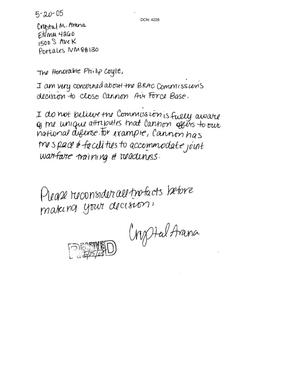 Primary view of object titled 'Letter from Crystal Arana to the Commission dtd 20 May 2005'.