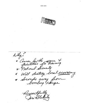Primary view of object titled 'Letter from Jane Blakeley to the Commission'.