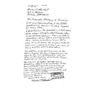 Primary view of object titled 'Letter from Michael C. Marshall to the Commission dtd 20 May 2005'.