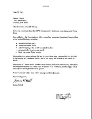 Primary view of object titled 'Letters from Donna Kittrell to some of the BRAC commissioners dtd 20 May 2005'.