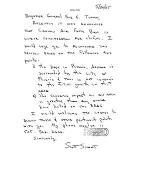 Primary view of object titled 'Letter from Scott Smart to the Commission dtd 20 May 2005'.