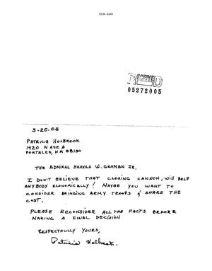Primary view of object titled 'Letter from Patricia Holbrook to the Commission dtd 20 May 2005'.