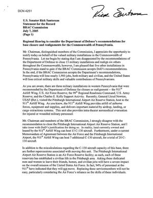 Primary view of object titled 'BRAC Commission - Statements and Testimony for the Record  - Senator Rick Santorum'.