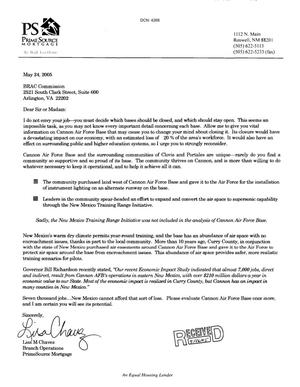 Primary view of object titled 'Letter from Lisa M. Chavez to the BRAC Commission dtd 24 May 2005'.