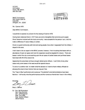 Primary view of object titled 'Letter from Gary L. Banner to the BRAC Commission dtd 24 may 2005'.