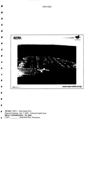 Primary view of object titled 'Supporting Information for 2005 BRAC Commission Tobyhanna Army Depot'.