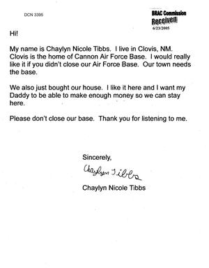 Primary view of object titled 'Letter from  Chaylyn Nicole Tibbs to Commission regarding Closure of Cannon AFB'.