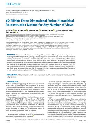 3D-FHNet: Three-Dimensional Fusion Hierarchical Reconstruction Method for Any Number of Views
