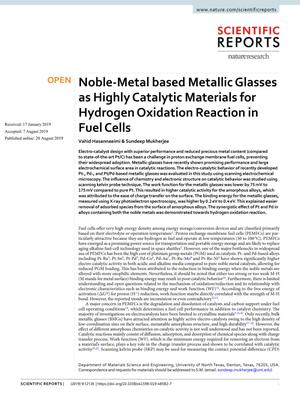 Noble-Metal based Metallic Glasses as Highly Catalytic Materials for Hydrogen Oxidation Reaction in Fuel Cells