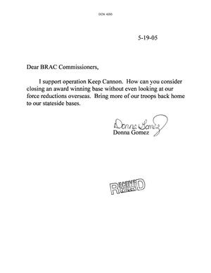 Primary view of object titled 'Letter from Donna Gomez the BRAC Commissioners dtd 19 May 2005'.