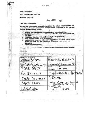 Primary view of object titled 'NAS JRB Willowgrove Community Petition dtd 1 June 2005'.