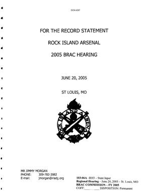 Primary view of object titled 'Rock Island Arsenal 2005 BRAC Hearing'.
