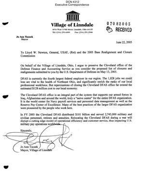 Primary view of object titled 'Executive Correspondence – Letter dtd 06/22/05 to Commissioner Newton from Village of Linndale OH Mayor Toczek'.
