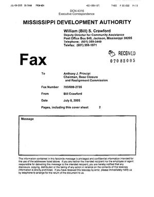 Primary view of object titled 'Executive Correspondence – Letter dtd 07/07/05 to Secretary Rumsfeld (CC to Chairman Principi) from Mississippi Governor Haley Barbour'.