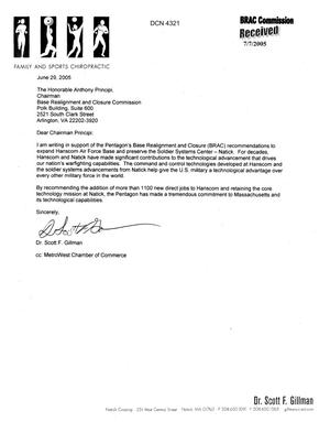 Primary view of object titled 'Letter dtd 06/29/05 To Chairman Principi from Dr. Scot Gillman'.