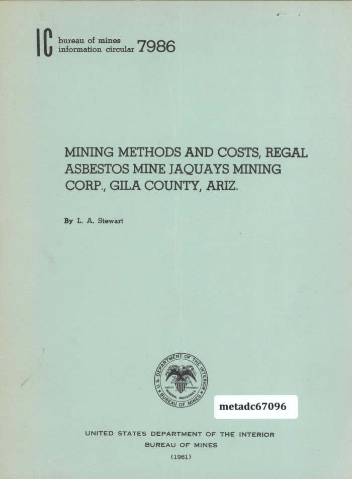 Mining methods and costs regal asbestos mine jaquays mining corp primary view of object titled mining methods and costs regal asbestos mine jaquays urtaz Choice Image