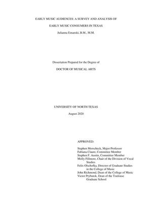 Early Music Audiences: A Survey and Analysis of Early Music Consumers in Texas