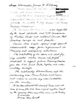 Primary view of object titled 'Letter from Anna Mae Smith to Commission Regarding Cannon AFB'.