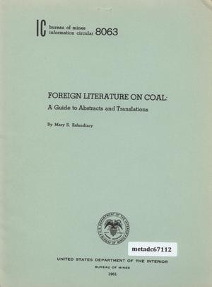 Foreign Literature on Coal: A Guide to Abstracts and Translations