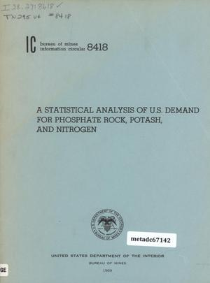 Primary view of object titled 'A Statistical Analysis of U.S. Demand for Phosphate Rock, Potash, and Nitrogen'.