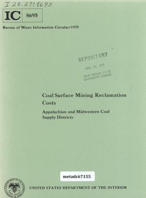 Primary view of object titled 'Coal Surface Mining Reclamation Costs: Appalachian and Midwestern Coal Supply Districts'.