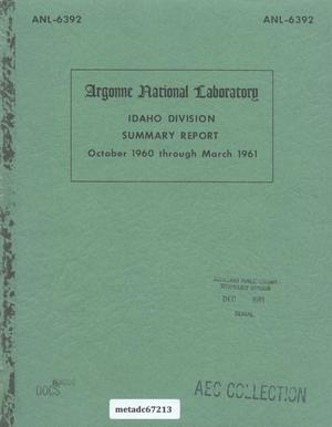 Primary view of object titled 'Idaho Division Summary Report'.
